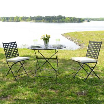 Cambridge Outdoor Bistro Table & Folding Chair 3-piece Set