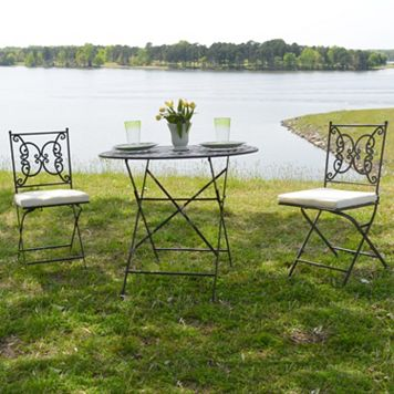 Regency Outdoor Bistro Table & Folding Chair 3-piece Set