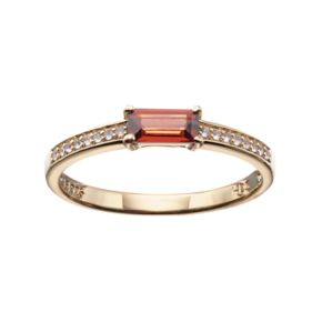 14k Gold Over Silver Garnet & White Sapphire Stack Ring