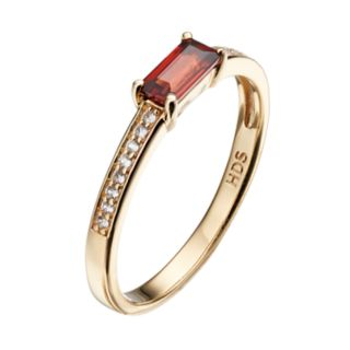 14k Gold Over Silver Garnet & White Sapphire Stack Ring
