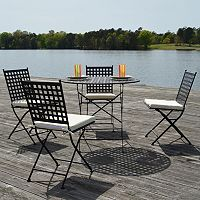 Cambridge Outdoor Bistro Table & Folding Chair 5-piece Set