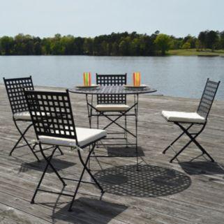 Cambridge Outdoor Bistro Table & Folding Chair 5-piece Set