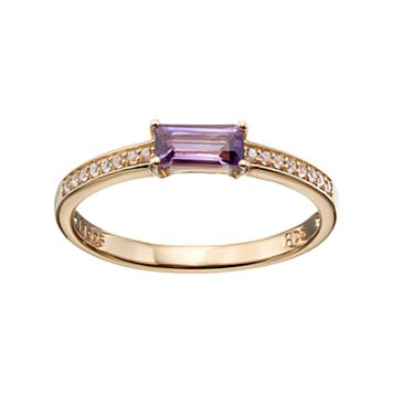 14k Gold Over Silver Amethyst & White Sapphire Stack Ring