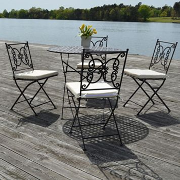 Regency Outdoor Bistro Table & Folding Chair 5-piece Set