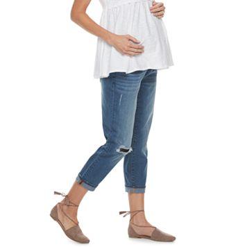 Maternity a:glow Full Belly Panel Girlfriend Jeans