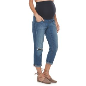 Maternity a:glow Full Belly Panel Girlfriend Jeans