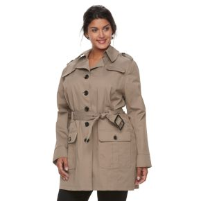 Plus Size Apt. 9® Military Trench Coat with Belt