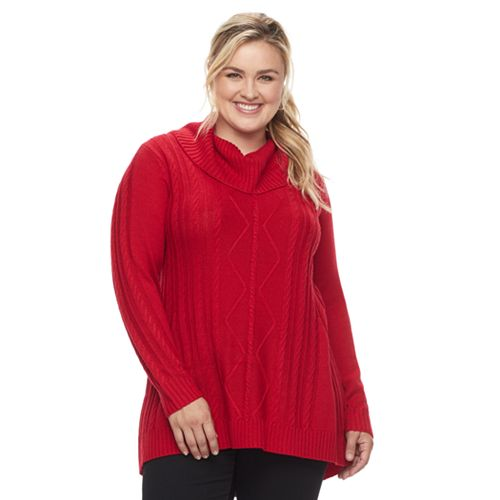 Plus Size Napa Valley Cowlneck Tunic Sweater