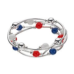 Red, White & Blue Bead Curved Tube Stretch Bracelet Set