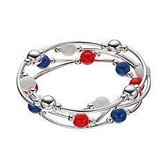 b9888c098 Red, White & Blue Bead Curved Tube Stretch Bracelet Set