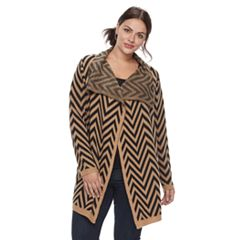 Plus Size Napa Valley Chevron Open-Front Cardigan