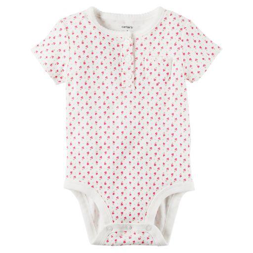 Baby Girl Carter's Floral Henley Bodysuit