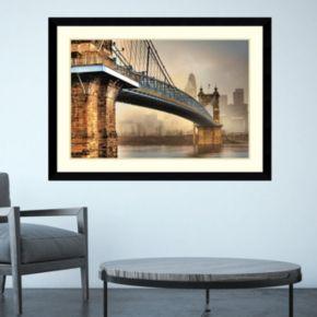 Amanti Art Foggy Roebling Bridge Framed Wall Art