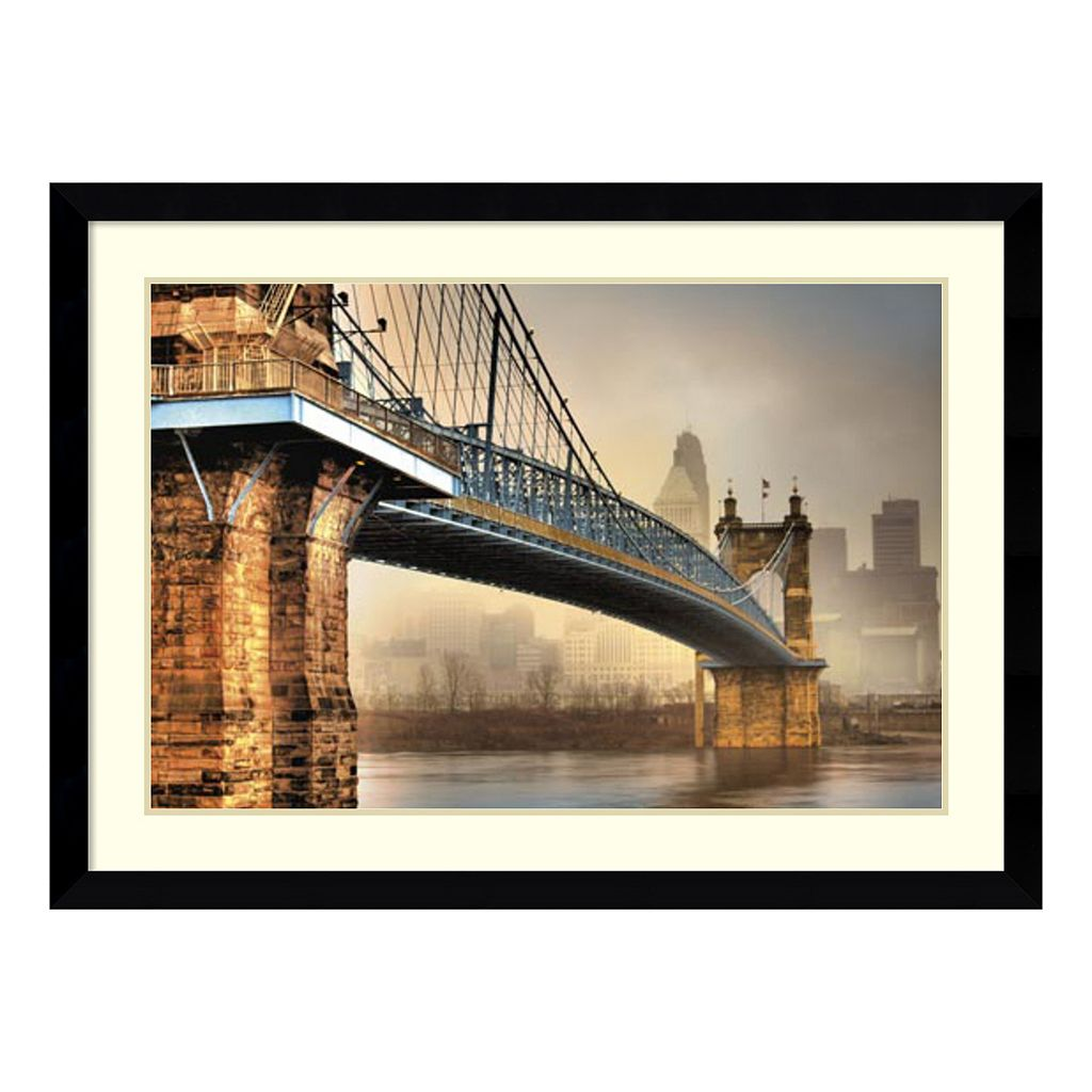 Amanti Art Foggy Roebling Bridge Framed Wall Art
