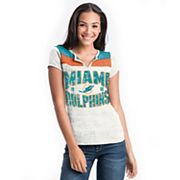 Women's 5th & Ocean by New Era Miami Dolphins Burnout Henley Tee