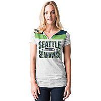 Women's 5th & Ocean by New Era Seattle Seahawks Burnout Henley Tee