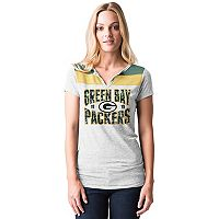 Women's 5th & Ocean by New Era Green Bay Packers Burnout Henley Tee
