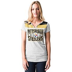 Women's 5th & Ocean by New Era Pittsburgh Steelers Burnout Henley Tee