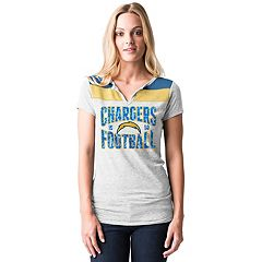 Women's 5th & Ocean by New Era Los Angeles Chargers Burnout Henley Tee