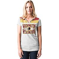 Women's 5th & Ocean by New Era Washington Redskins Burnout Henley Tee