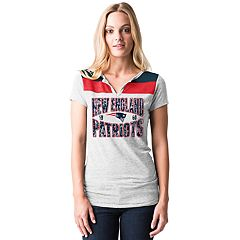 Women's 5th & Ocean by New Era New England Patriots Burnout Henley Tee