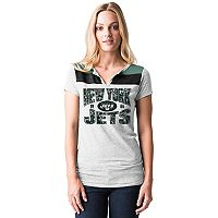 Women's 5th & Ocean by New Era New York Jets Burnout Henley Tee