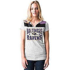 Women's 5th & Ocean by New Era Baltimore Ravens Burnout Henley Tee