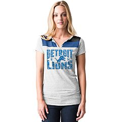 Women's 5th & Ocean by New Era Detroit Lions Burnout Henley Tee