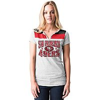 Women's 5th & Ocean by New Era San Francisco 49ers Burnout Henley Tee