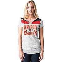 Women's 5th & Ocean by New Era Kansas City Chiefs Burnout Henley Tee