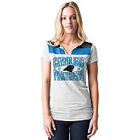 Women's 5th & Ocean by New Era Carolina Panthers Burnout Henley Tee