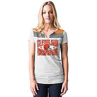 Women's 5th & Ocean by New Era Cleveland Browns Burnout Henley Tee