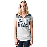 Women's 5th & Ocean by New Era Los Angeles Rams Burnout Henley Tee