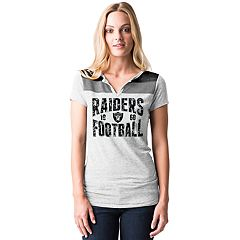 Women's 5th & Ocean by New Era Oakland Raiders Burnout Henley Tee