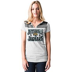 Women's 5th & Ocean by New Era Jacksonville Jaguars Burnout Henley Tee