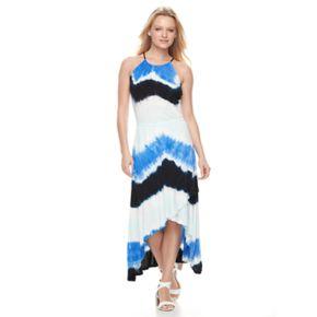 Women's WDNY Black Tie-Dye Halter Maxi Dress