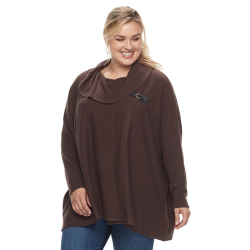 Plus Size Napa Valley Cowlneck Poncho Sweater