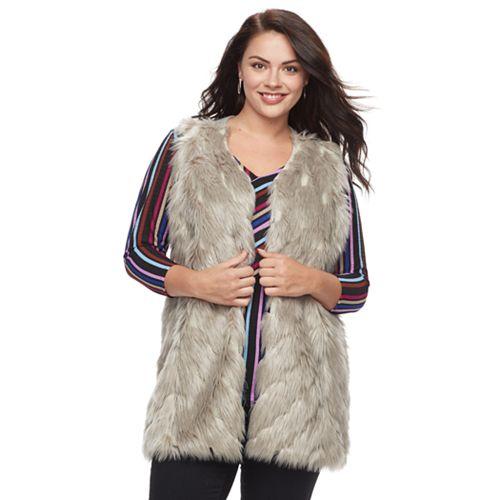Plus Size Napa Valley Faux-Fur Vest