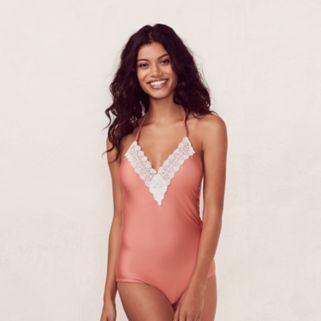 Women's LC Lauren Conrad Beach Shop Lace One-Piece Swimsuit
