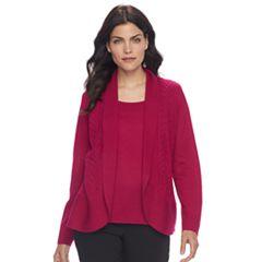 Petite Napa Valley Mock-Layer Pointelle Sweater