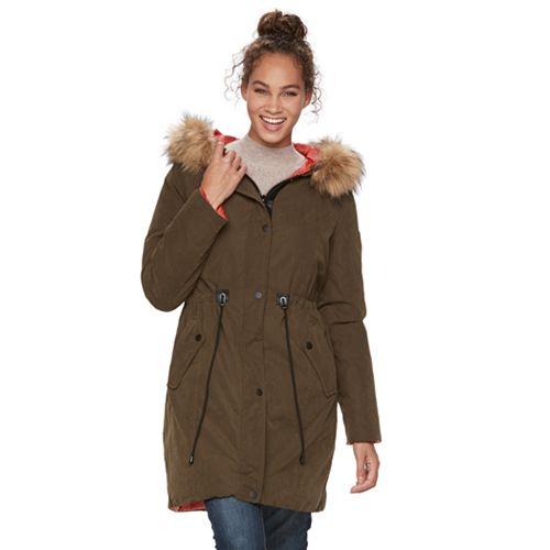 Apt. 9® Hooded Faux-Fur Trim Anorak