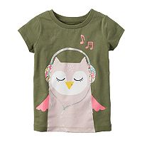 Toddler Girl Carter's Glitter Owl Graphic Tee