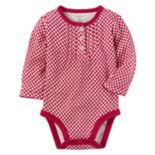 Baby Girl Carter's Red Floral Henley Bodysuit