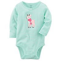 Baby Girl Carter's Striped Reindeer Graphic Bodysuit