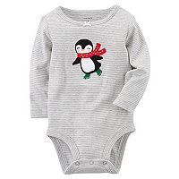 Baby Girl Carter's Striped Penguin Graphic Bodysuit