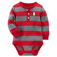Baby Boy Carter's Striped Thermal Henley Penguin Bodysuit