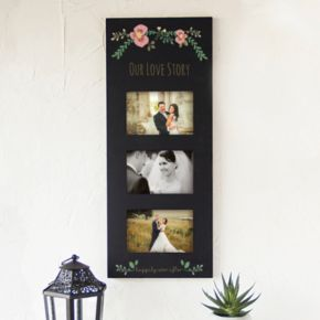 """Cathy's Concepts Floral """"Our Love Story"""" 3-Opening 5.5"""" x 3.5"""" Collage Frame"""