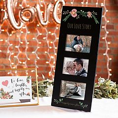 Cathy's Concepts Floral 'Our Love Story' 3-Opening 5.5' x 3.5' Collage Frame