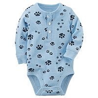 Baby Boy Carter's Thermal Henley Paw Print Graphic Bodysuit