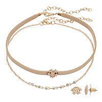 LC Lauren Conrad Flower Cluster Choker Necklace & Stud Earring Set